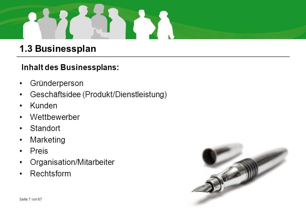 1.3 Businessplan Inhalt des Businessplans: Gründerperson