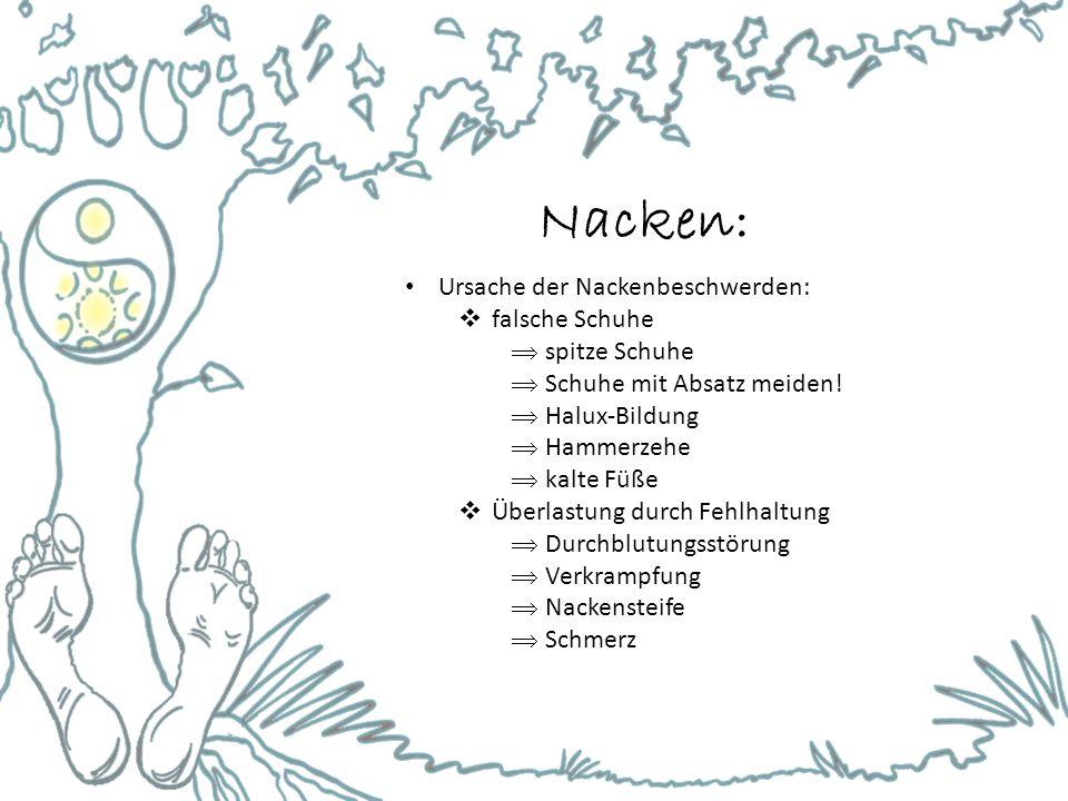 Nacken: Ursache der Nackenbeschwerden: falsche Schuhe spitze Schuhe