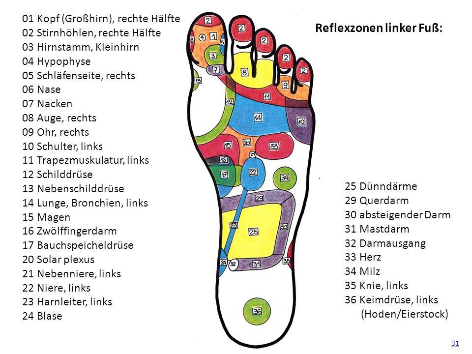 Reflexzonen linker Fuß: