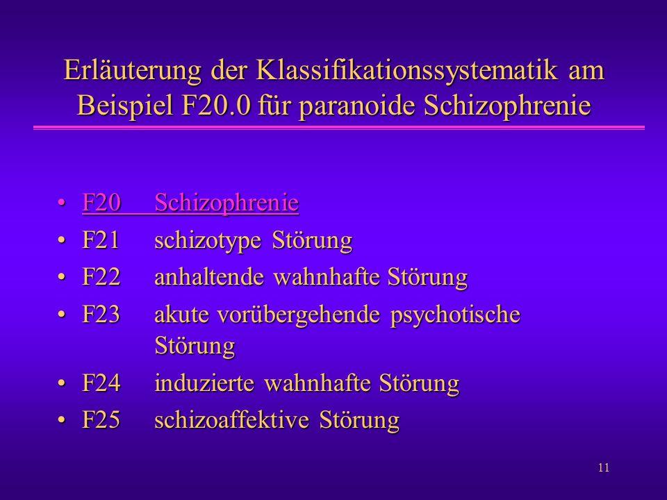 Erläuterung der Klassifikationssystematik am Beispiel F20