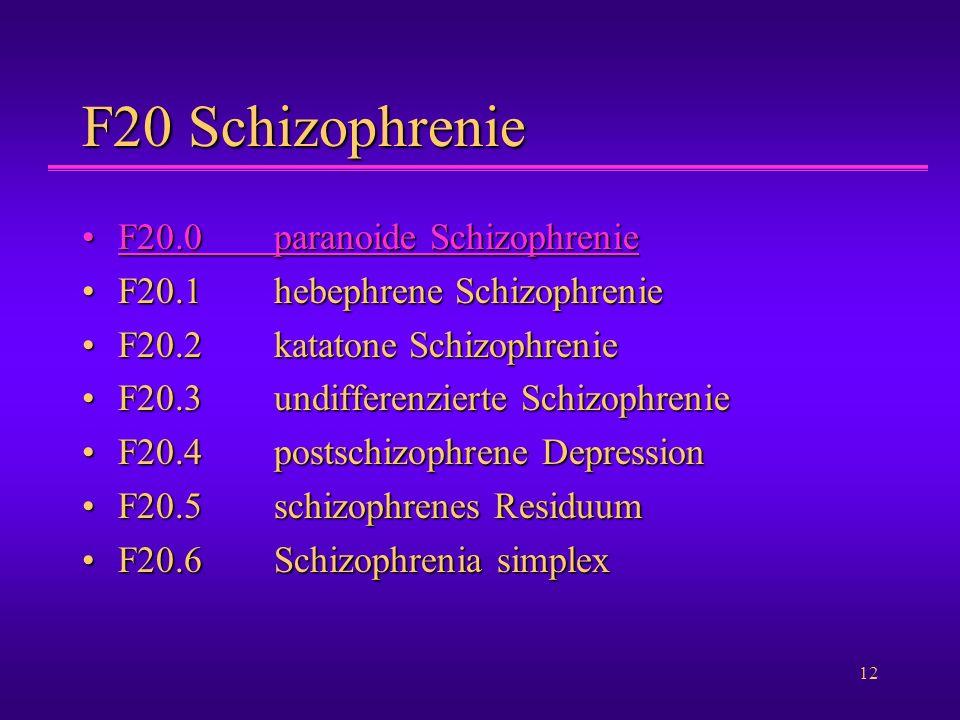 F20 Schizophrenie F20.0 paranoide Schizophrenie