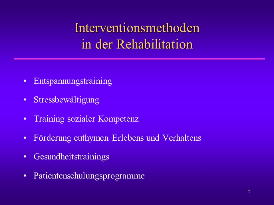 Interventionsmethoden in der Rehabilitation