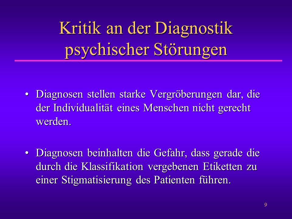 Kritik an der Diagnostik psychischer Störungen