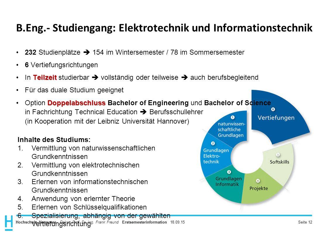 B.Eng.- Studiengang: Elektrotechnik und Informationstechnik