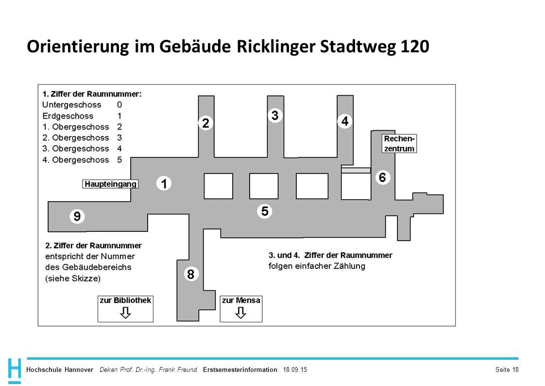 Orientierung im Gebäude Ricklinger Stadtweg 120