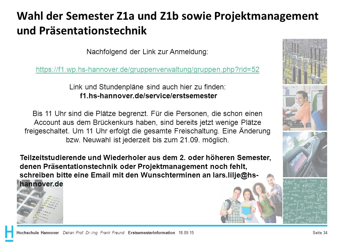Wahl der Semester Z1a und Z1b sowie Projektmanagement und Präsentationstechnik