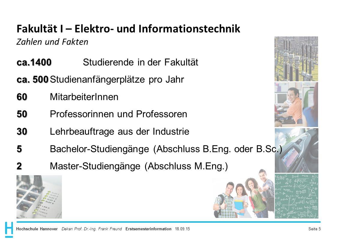 Fakultät I – Elektro- und Informationstechnik Zahlen und Fakten