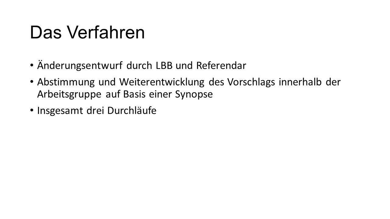 Das Verfahren Änderungsentwurf durch LBB und Referendar