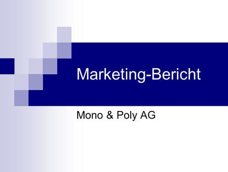 Marketing-Bericht Mono & Poly AG.
