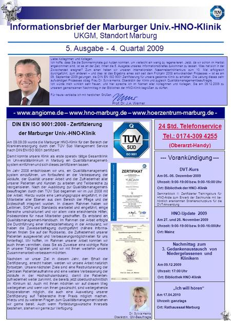 Informationsbrief der Marburger Univ