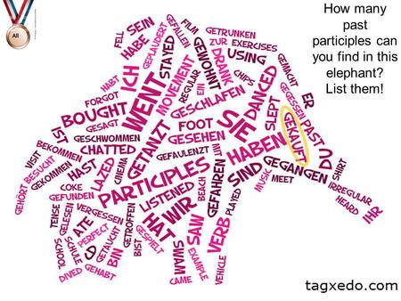 How many past participles can you find in this elephant? List them!