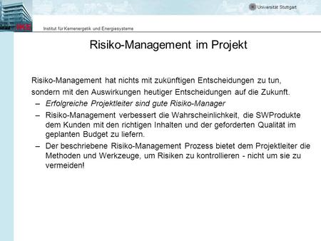 Risiko-Management im Projekt