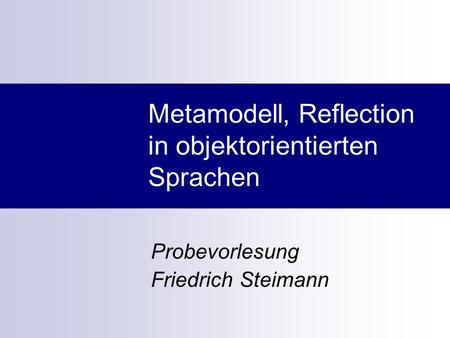 Metamodell, Reflection in objektorientierten Sprachen