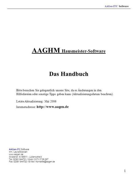 AAGHM Hausmeister-Software
