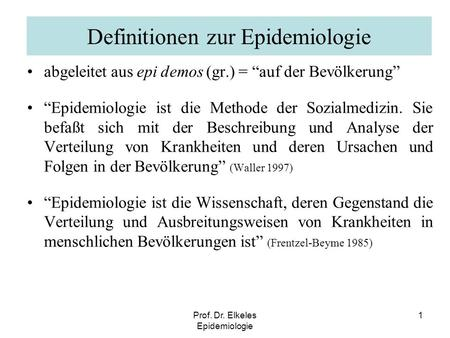 Definitionen zur Epidemiologie