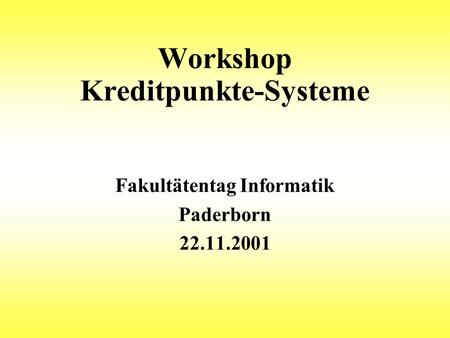 Workshop Kreditpunkte-Systeme