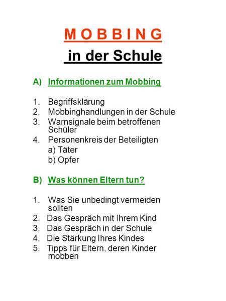 Mobbing In Der Schule Heinz Leymann Ppt Herunterladen