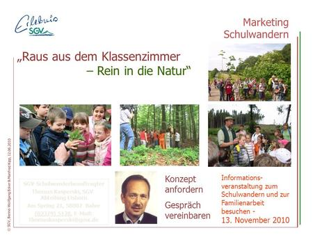 "– Rein in die Natur"" Marketing Schulwandern"
