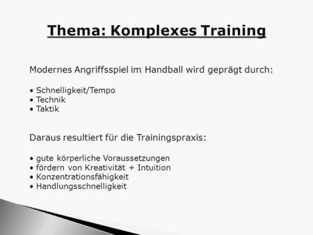 Thema: Komplexes Training