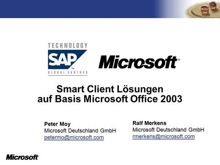 Smart Client Lösungen auf Basis Microsoft Office 2003