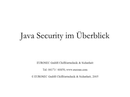 Java Security im Überblick