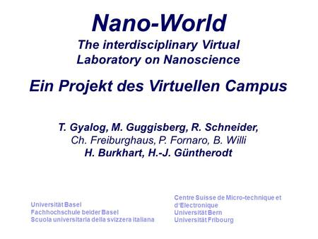 Nano-World The interdisciplinary Virtual Laboratory on Nanoscience Ein Projekt des Virtuellen Campus T. Gyalog, M. Guggisberg, R. Schneider, Ch. Freiburghaus,
