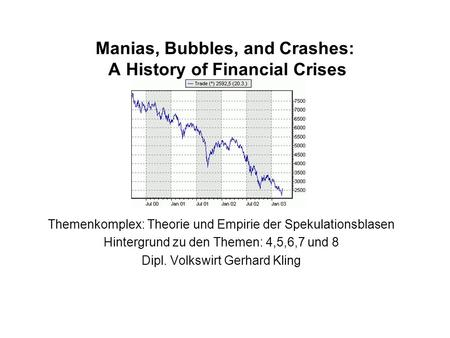 Manias, Bubbles, and Crashes: A History of Financial Crises