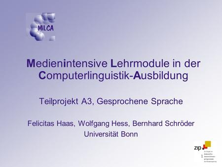 Medienintensive Lehrmodule in der Computerlinguistik-Ausbildung