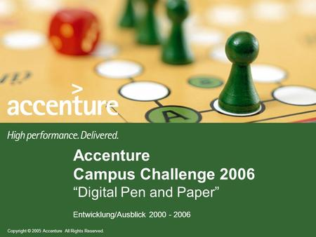 Copyright © 2005 Accenture All Rights Reserved. Entwicklung/Ausblick 2000 - 2006 Accenture Campus Challenge 2006 Digital Pen and Paper.