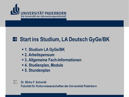 Start ins Studium, LA Deutsch GyGe/BK