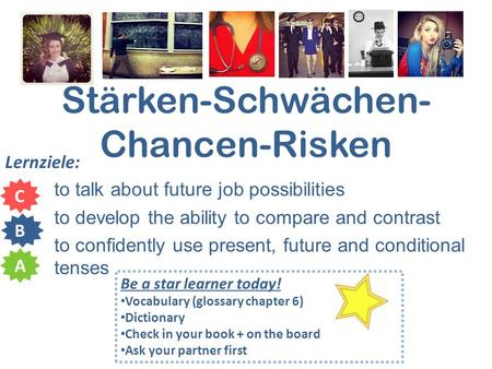 Stärken-Schwächen- Chancen-Risken Lernziele: to talk about future job possibilities to develop the ability to compare and contrast to confidently use present,