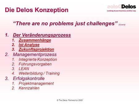 "Die Delos Konzeption ""There are no problems just challenges"" (Cicero)"