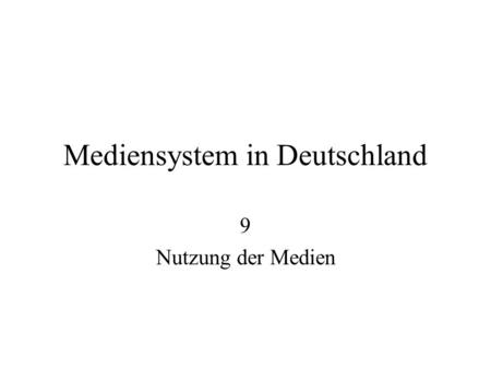Mediensystem in Deutschland