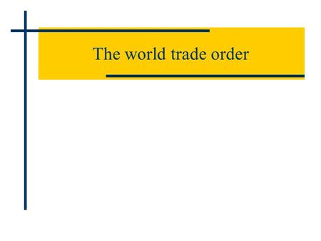 The world trade order. As part of post WW2 World Economic Order 1 st – 12th of July 1944 Bretton Woods Conference Bretton Woods Institutions: International.