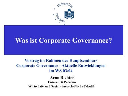Was ist Corporate Governance?