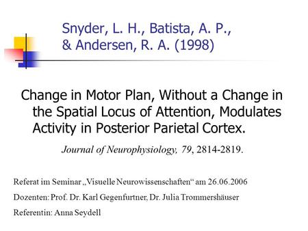 Snyder, L. H., Batista, A. P., & Andersen, R. A. (1998) Change in Motor Plan, Without a Change in the Spatial Locus of Attention, Modulates Activity in.