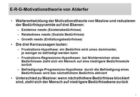 E-R-G-Motivationstheorie von Alderfer