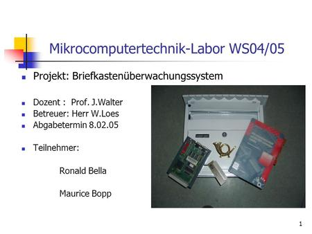 Mikrocomputertechnik-Labor WS04/05