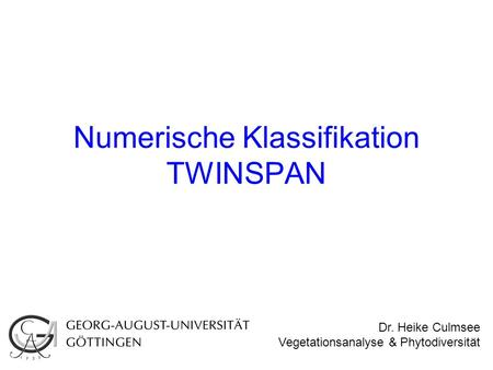 Numerische Klassifikation TWINSPAN