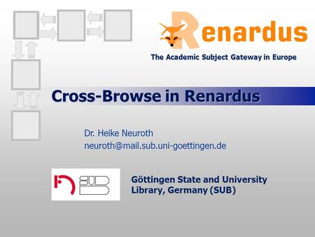 Cross-Browse in Renardus Göttingen State and University Library, Germany (SUB) Dr. Heike Neuroth The Academic Subject.