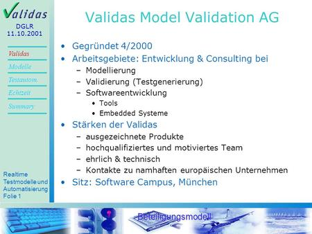 Validas Model Validation AG