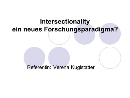 Intersectionality ein neues Forschungsparadigma?