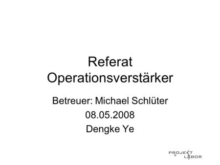 Referat Operationsverstärker
