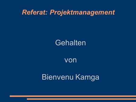 Referat: Projektmanagement