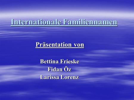 Internationale Familiennamen