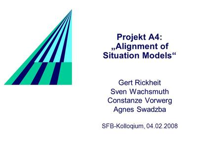 Projekt A4: Alignment of Situation Models Gert Rickheit Sven Wachsmuth Constanze Vorwerg Agnes Swadzba SFB-Kolloqium, 04.02.2008.