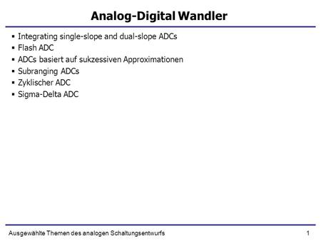 Analog-Digital Wandler