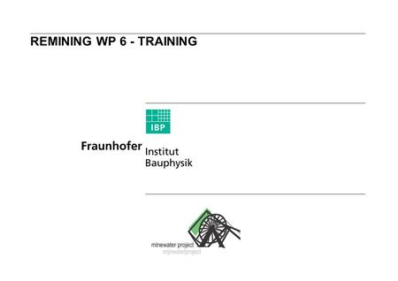 REMINING WP 6 - TRAINING.