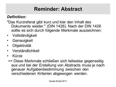 Reminder: Abstract Definition: