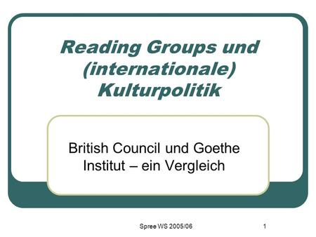 Reading Groups und (internationale) Kulturpolitik